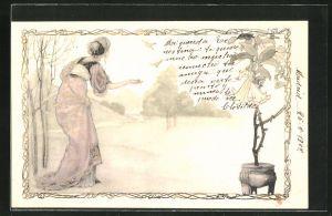 Lithographie Frau füttert Vögel, Jugendstil