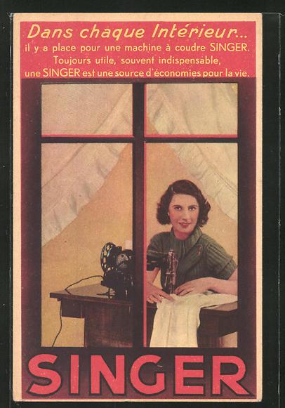 AK Reklame für Singer, Frau an der Nähmaschine