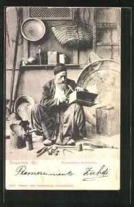 AK Ferblantier ambulant, arabischer Blechschlosser bei der Arbeit