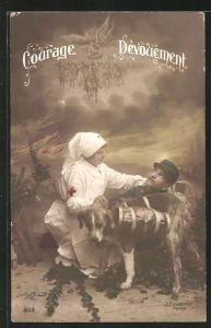 AK Courage Devouement, Sanitätshund und Krankenschwester versorgen einen verwundeten Soldaten