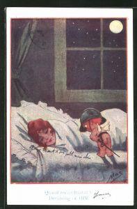 Künstler-AK sign. Mac: kleiner Engel mit Helm bewacht schlafendes Mädchen