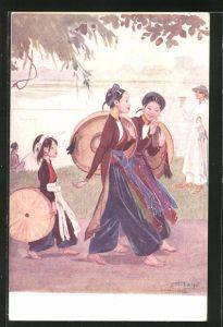 Künstler-AK sign. Saige: Asiatinnen mit Hüten bei einem Spaziergang