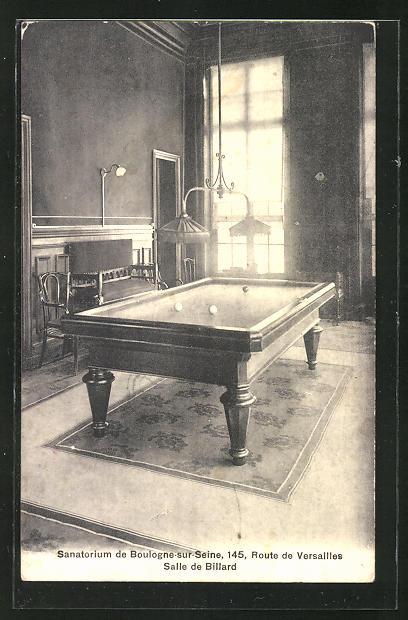 AK Boulogne-sur-Seine, Sanatorium, 145 Route de Versailles, Salle de Billard, Innenansicht