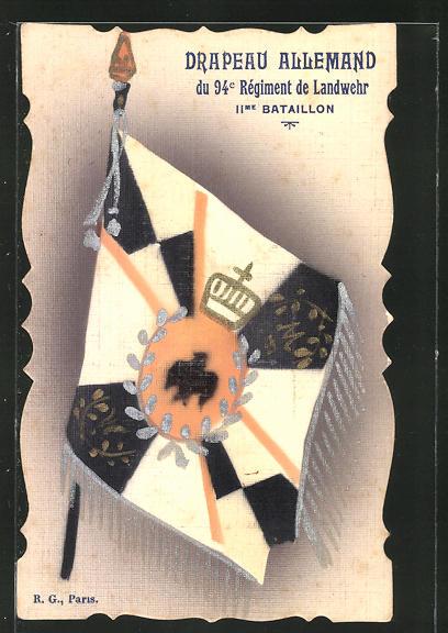 AK Drapeau Allemand du 94e Regiment de Landwehr IIme Bataillon, eroberte Fahne