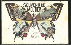 AK Moutier, Frau mit Schmetterlingsflügeln, Nouveau College, Panorama, Les Gorges