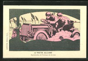 Künstler-AK sign. Butteri: Männer rasen im Auto durch die Landschaft