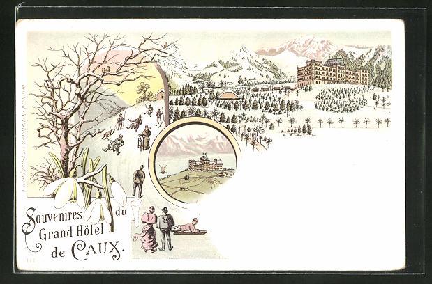 Winter-Lithographie Caux, Grand Hôtel, Rodler