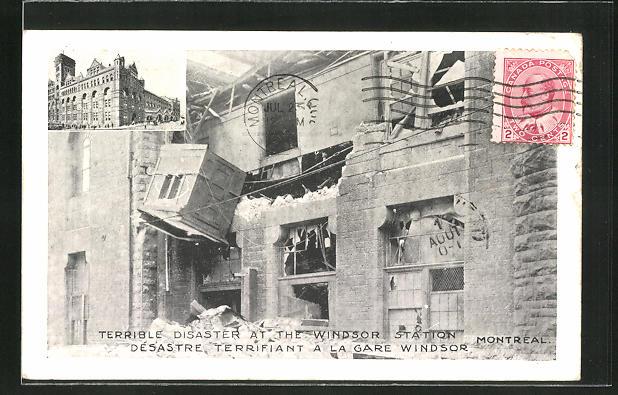 AK Montrealo, Terrible Disaster at Windsor Station, Eisenbahnkatastrophe