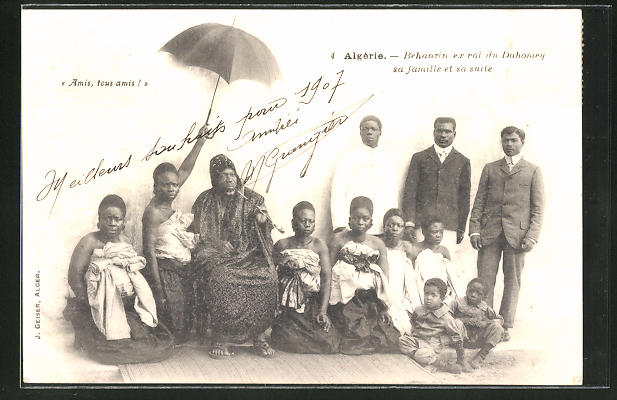 AK Behanzin, ex-roi du Dahomey sa famille et sa suite, ehem. König mit Familie und Gefolge
