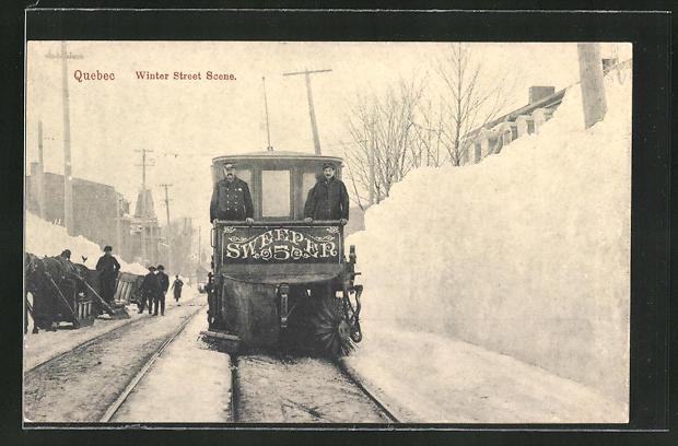 AK Quebec, Winter Street Scene, Strassenkehr-Strassenbahn