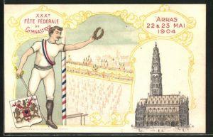 AK Fete Federale de Gymnastique 1904, Turnfest, Fechter mit Wappen