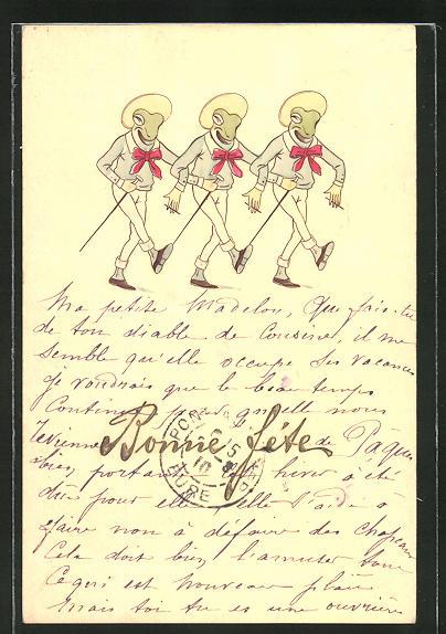 AK Vermenschlichte Frösche mit Hut und roter Schleife am Hemd