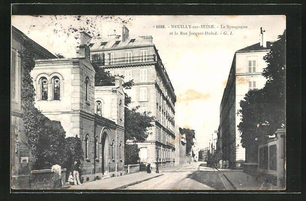 AK Neuilly-sur-Seine, La Synagoge et la Rue Jacques-Dulud