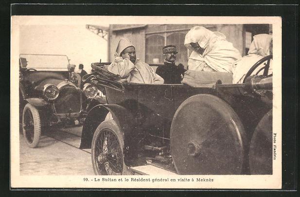 AK Meknes, Ankunft des Sultans und des Residenten Generals