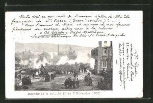 AK St. Pierre, Incendie de la nuit du 1er au 2 Novembre 1902, Brand
