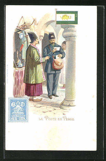 Lithographie La Poste en Persen, persicher Briefträger, Postbote, Iran