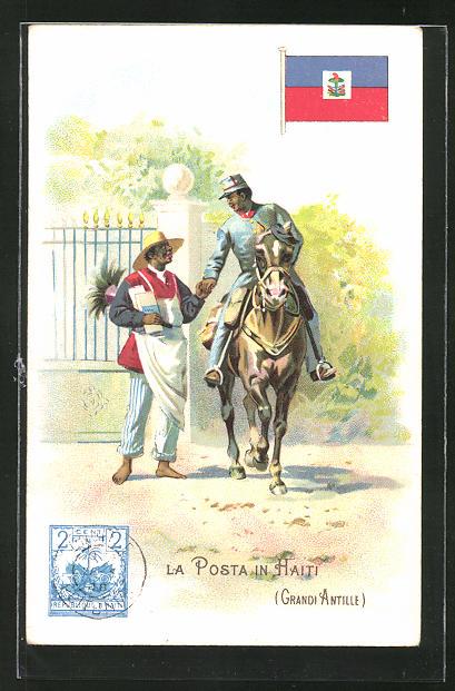 Lithographie La Poste en Haiti, Grandi Antille, Briefträger zu Pferd auf Haiti