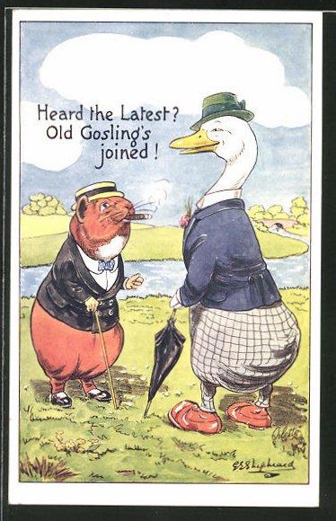 Künstler-AK George Edward Shepheard: War Problems, Heard the Latest?... Hamster unterhält sich mit Ente