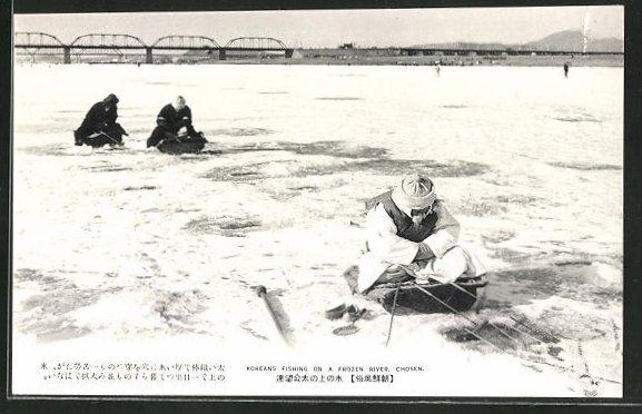 AK Chosen, Koreans fishing on frozen River, Eisfischer