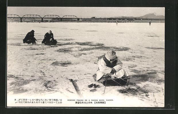 AK Chosen, Koreans fishing on frozen River, koreanische Eisangler