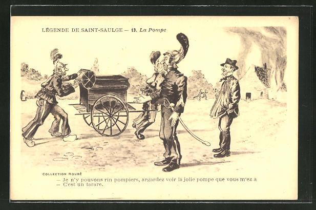 AK Legende de Saint-Saulge, La Pompe, Feuerwehr mit Löschkarren auf dem Weg zu einem Brand