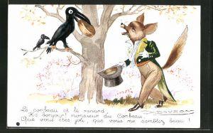 Künstler-AK Mauzan: Fuchs und Rabe mit Käse