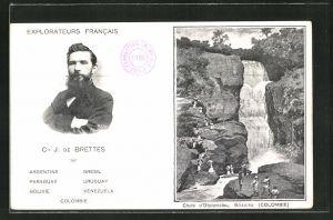 AK Explorateur Francais Cte J. de Brettes, Chute d'Otolomalou, Goagira, Wasserfall in Kolumbien, Entdecker