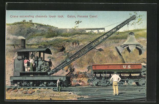 AK Gatun, Crane excavating channels lower lock, Dampf-Kran bei Arbeit am Panamakanal