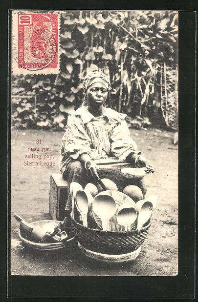 AK Susu girl selling pap, Händlerin aus Sierra Leone