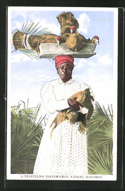 AK Nassau, a travelling saleswoman, Händlerin mit Vögeln