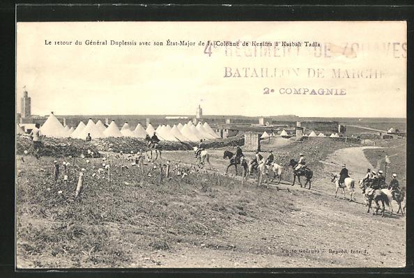 AK Kasbah Tadla, Le retour du General Duplessis avec son Etat-Major de la Colonne de Kenifra, Kavallerie