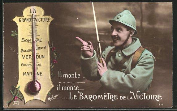 AK Il monte le Barometre de la Victoire, Soldat mit Bajonett blickt zu einem Thermometer