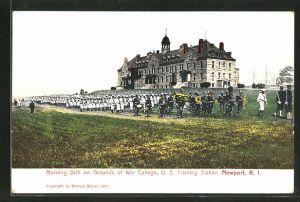 AK Newport, RI, Morning Drill on Grounds of War College, U.S. Training Station
