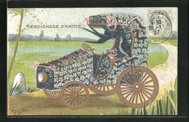 Lithographie Blumenbild mit Auto und Landstrasse