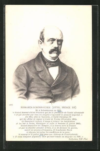 AK Portrait Otto Bismarck-Schonhausen 1815-1898