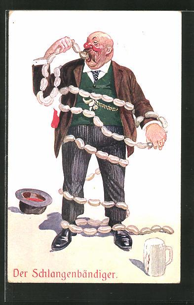 AK Dicker Mann mit Wurstschlange, Der Schlangenbändiger