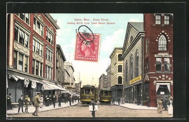 AK Salem, MA, Essex Street looking North Town House Square, Strassenbahn