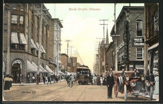 AK Ottawa, Bank Street & Strassenbahn
