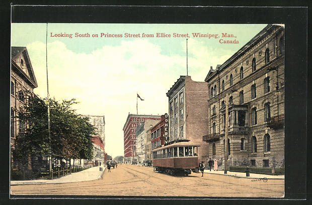 AK Winnipeg, Looking South on Princess Street from Ellice Street, Strassenbahn