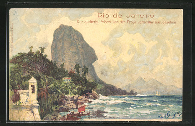 Künstler-AK Hans Bohrdt: Rio de Janeiro, Der Zuckerhutfelsen von der Praya vermelha aus gesehen