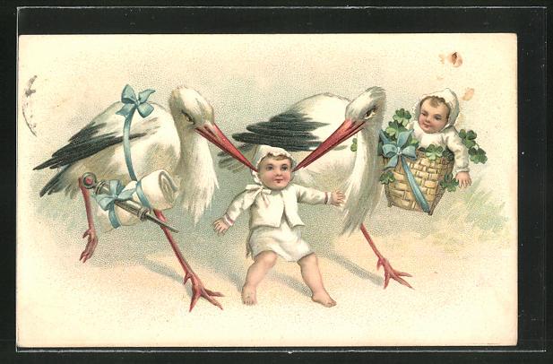 Lithographie Zwei Störche mit Babys, Spritze und Kleeblättern