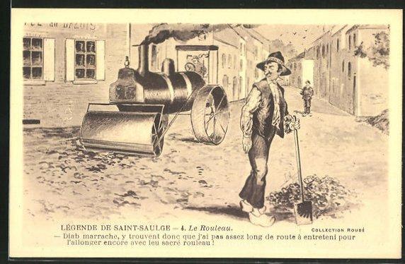 AK Saint-Saulge, Lokomobil im Strassenbau