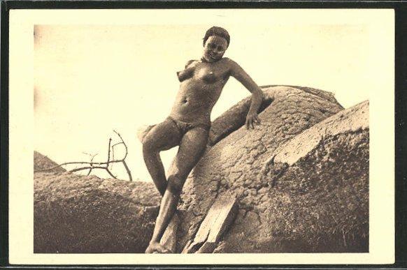AK Tchad, Femme Moundang de Lere, afrikanische nackte Frau