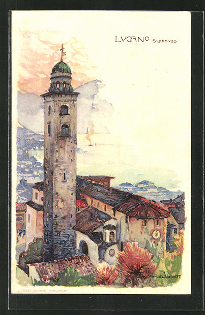 Künstler-Lithographie Manuel Wielandt: Lucano, S. Lorenzo