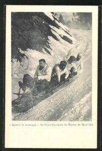 AK Le Fram-Champiuon du Canton de Vaud 1904, Viererbob