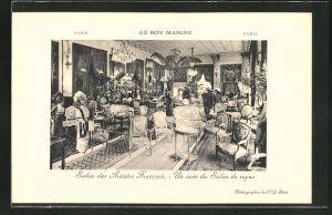 AK Paris, Au Bon Marche, Salon des Artistes Francais, Un coin du Salon de repos