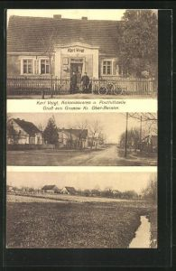 AK Grunow, Kolonialwaren-Geschäft und Poststelle von Karl Voigt, Ortspartien mit Wohnhäusern