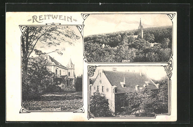 AK Reitwein, Schloss mit Turm, Pfarrhaus, Kirche