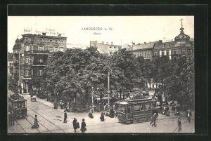 AK Landsberg / Gorzow Wlkp, Markt, Strassenbahn