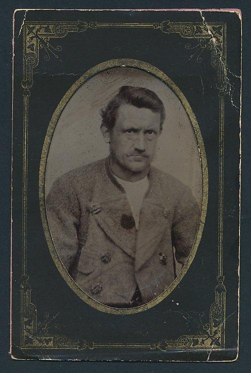Fotografie Ferrotypie Portrait Edelmann trägt Filzjacke